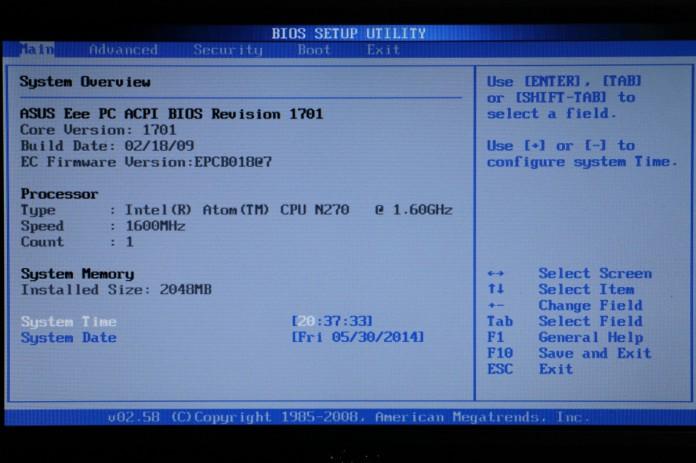 EeePC, BIOS