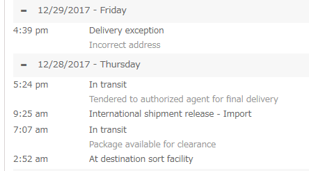 Delivery exception